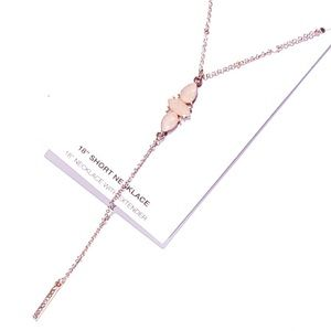 Jewelry - 1 LEFT 🎀3/$23🎀 Delicate Rose Stone Y Necklace